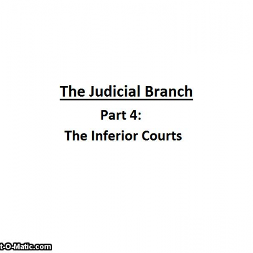 Judicial Branch (part 4-Inferior Courts)