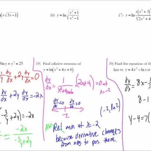 Topic 37 - Derivative of Natural Log Function