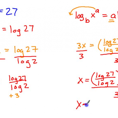 Solving an exponential equation requiring logs by taking the log of both sides.