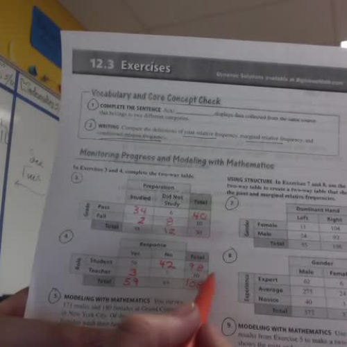 Relative Frequencies - Homework 12.3 From Big Ideas - Video 1 of 2