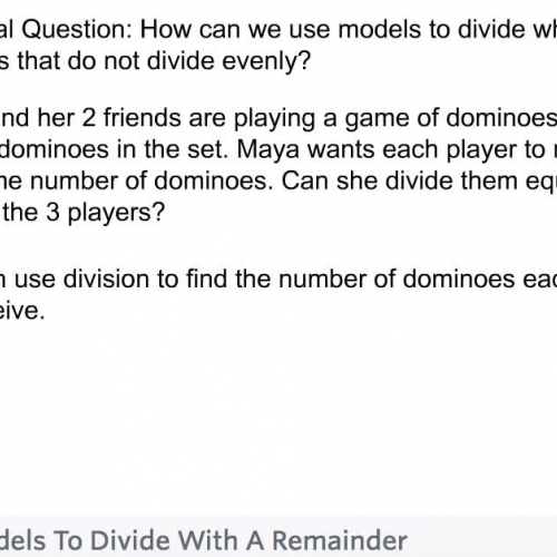 Fourth Grade - Lesson 4.2 Using Models to Divide Whole Numbers
