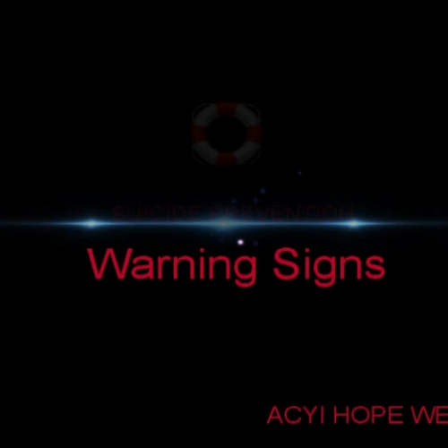 Hope Week Suicide Prevention Warning Signs