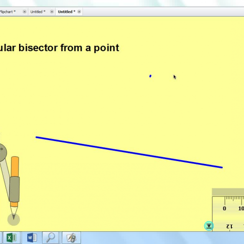 perpendicular bisector of a line from a point