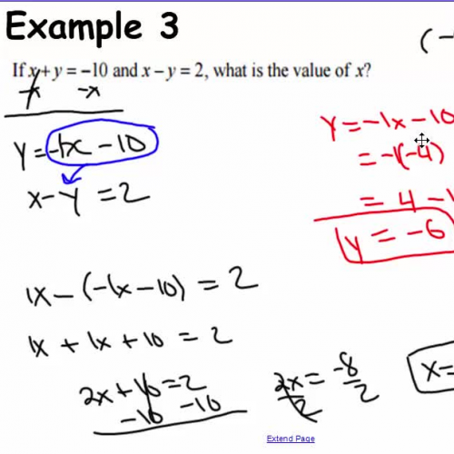 Solving a linear system of equations III (Substitution)