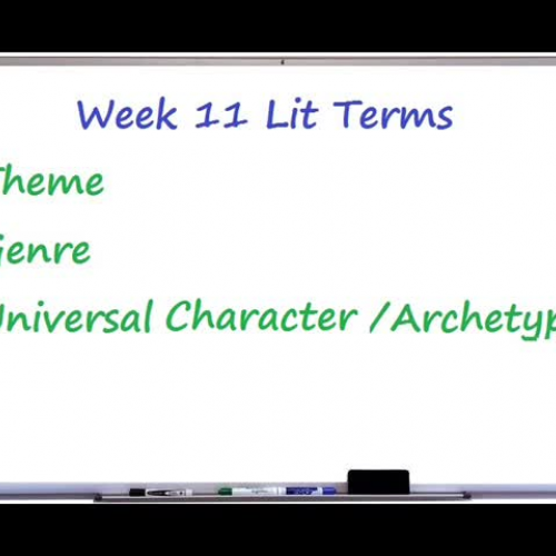 Week 11 Lit Terms  Theme, Genre, Universal Character