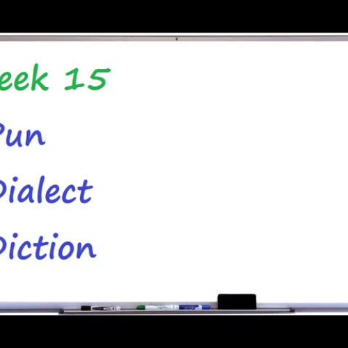 Week 15-  Pun, Dialect, and Diction