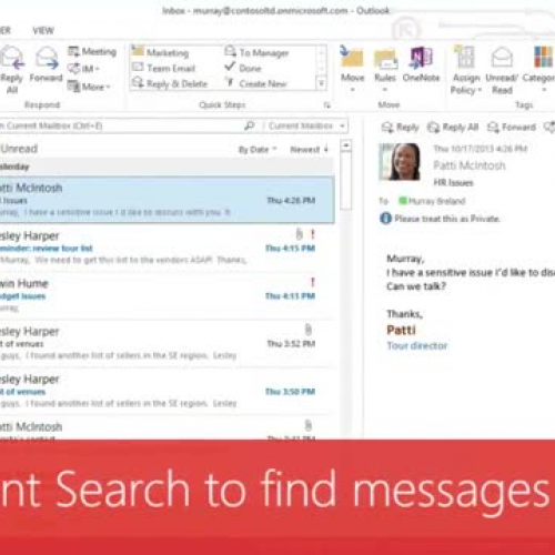 Use Instant Search to find messages and text