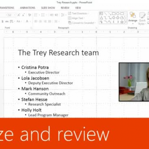 Finalize and review a presentation