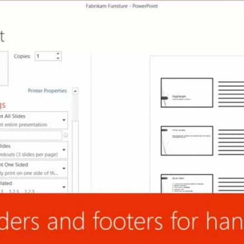 Edit headers and footers for handouts
