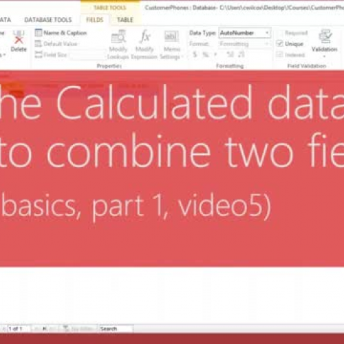 Use the Calculated data type to combine fields
