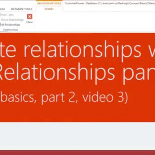 Create relationships with the Relationships Pane