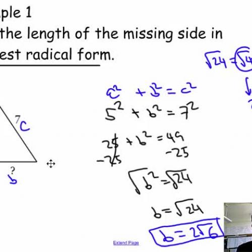 Pythagorean theorem and simplifying radicals