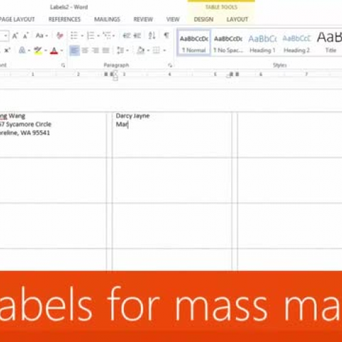 Use mail merge to create multiple labels