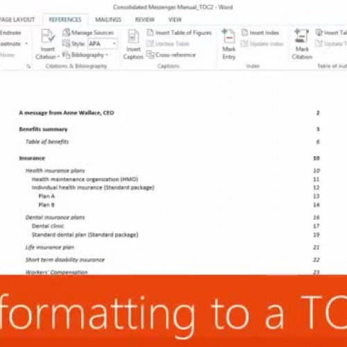 Add formatting to a TOC