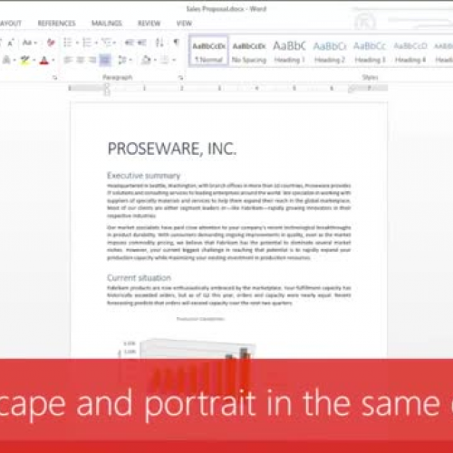 Use landscape and portrait in the same document