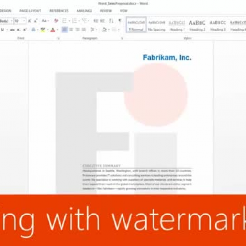 Working with watermarks