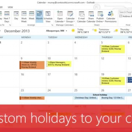 Add custom holidays to your calendar