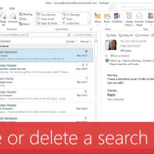 Create or delete a search folder