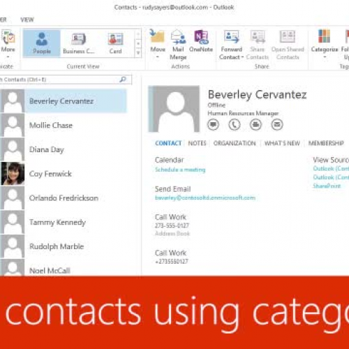 Group contacts using categories