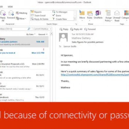Stuck email because of connectivity or password issues