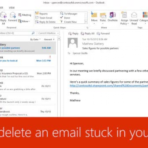 Send or delete an email stuck in your outbox