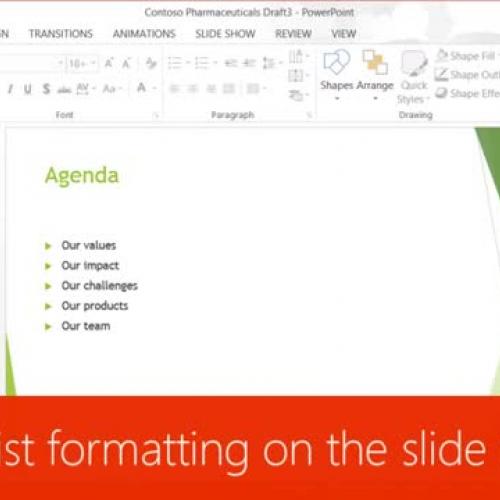Change list formatting on the slide master
