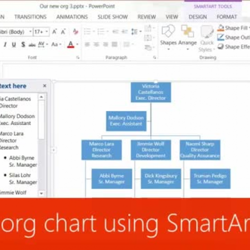 Build an org chart using SmartArt Tools