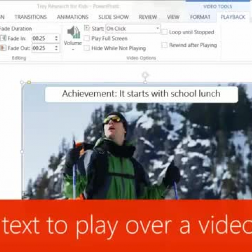 Trigger text to play over a video