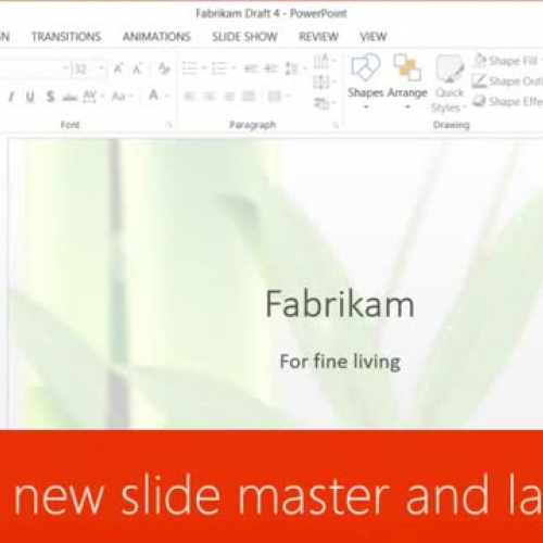 Create a new slide master and layouts