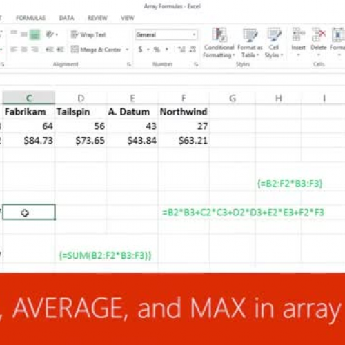 Use SUM, AVERAGE, and MAX in array formulas