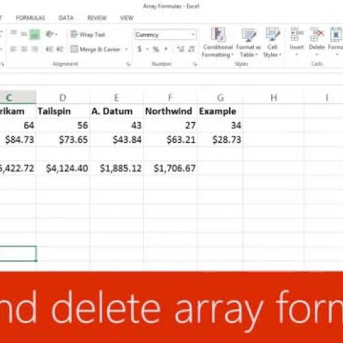Edit and delete array formulas