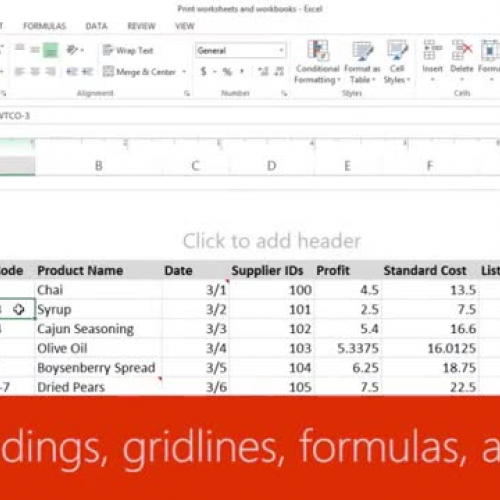 Print headings, gridlines, formulas, and more