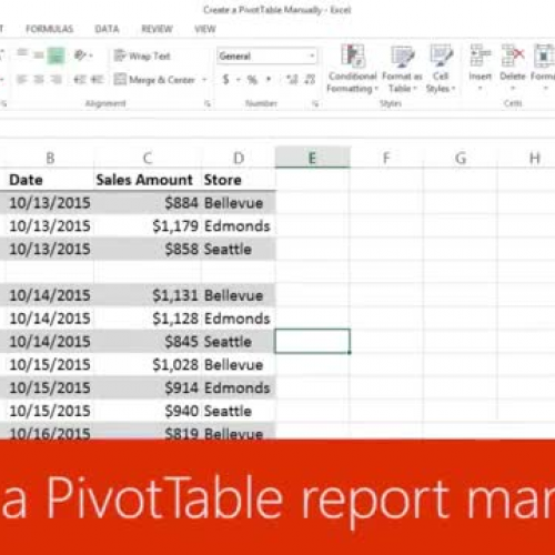 Create a PivotTable report manually