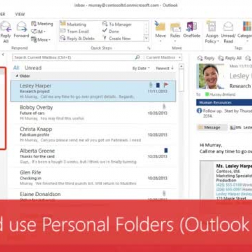 Create and use Personal Folders (Outlook Data Files)