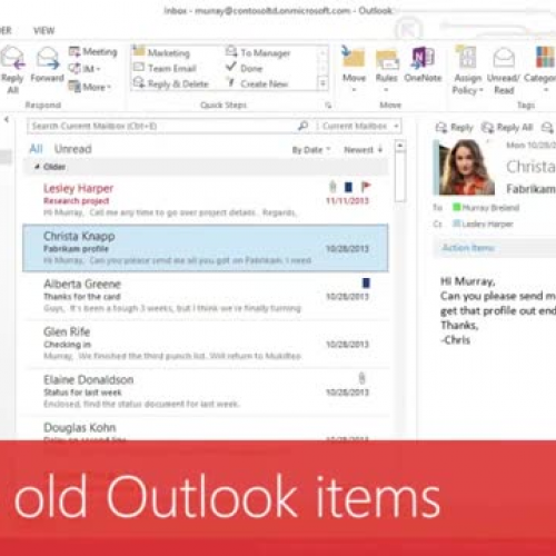Archive old Outlook items