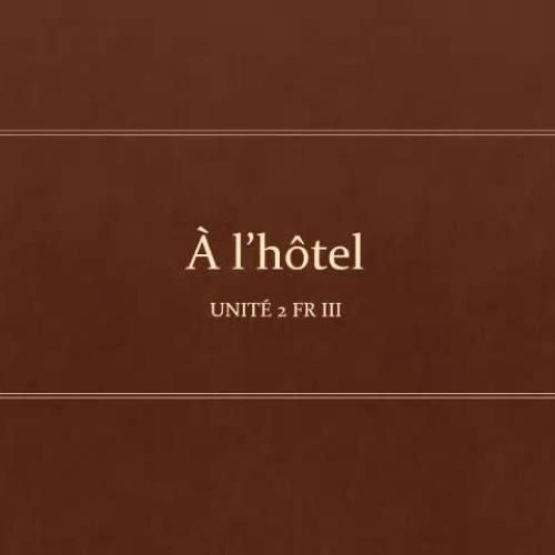 À l'hôtel