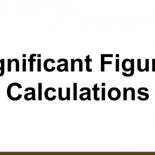 Significant Figures: Calculations