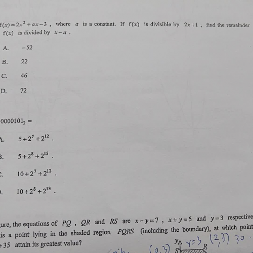 CE11 Q40, 41 (polynomial, binary numbers )