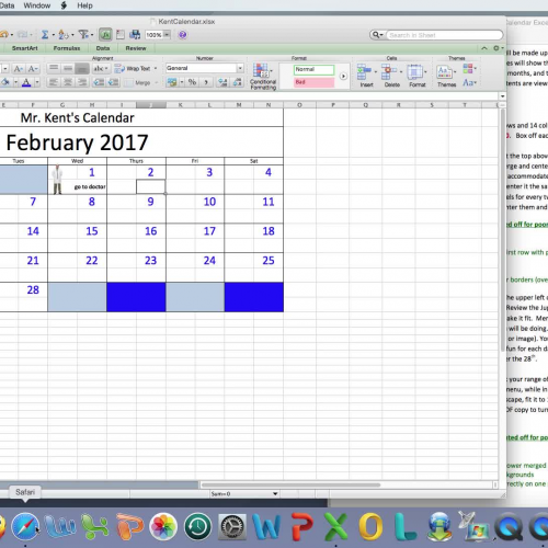 Excel Calendar Project Demo