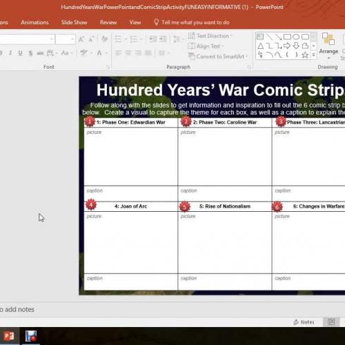 Hundred Years War- Comic Strip Activity