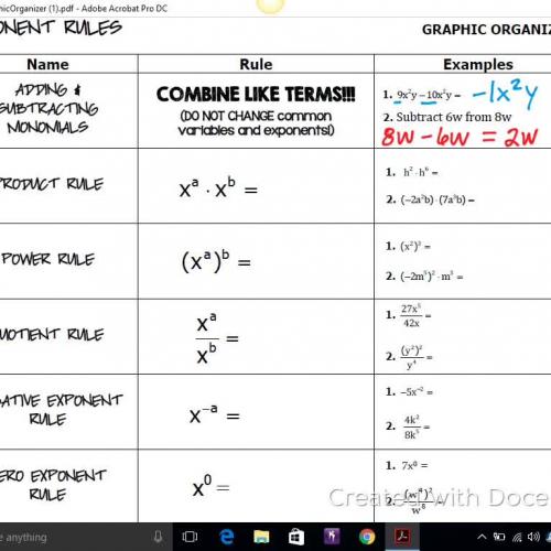 Adding & Subtracting Monomials