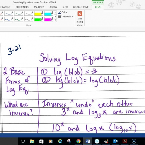 Pre-Cal Solve Log Equations Part 2