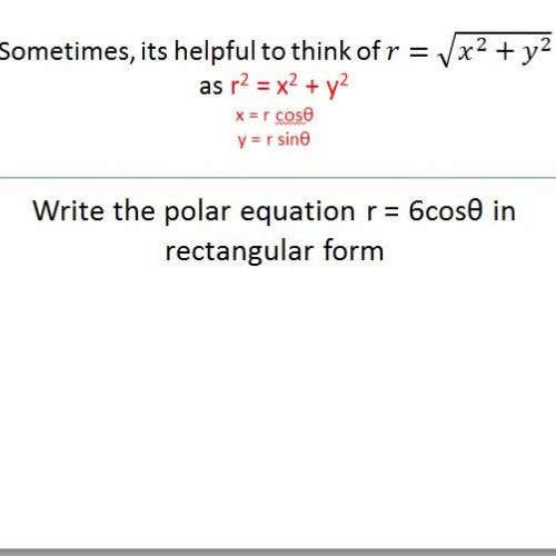 Changing Polar to rectangular equations