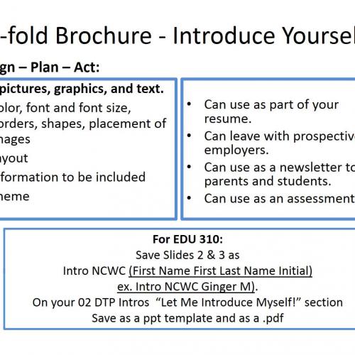 Tri-Fold Brochure Directions