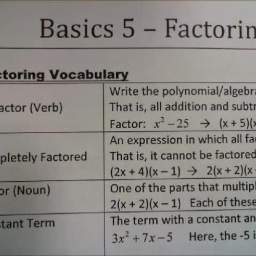 Basics 5 - Factoring