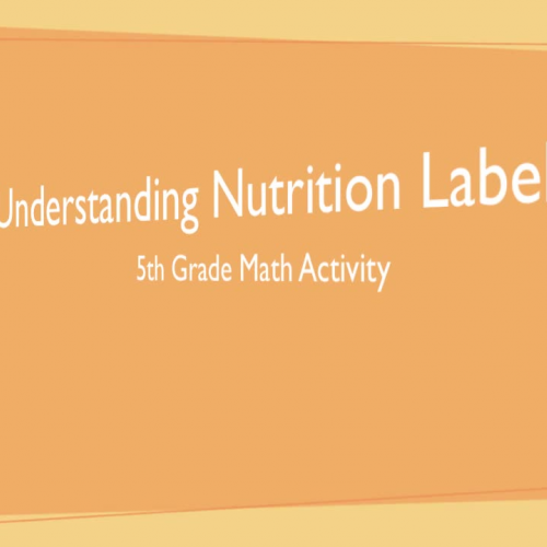 Math Activity - Reading Nutrition Lables