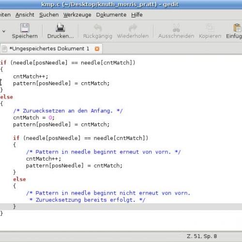 Knuth-Morris-Pratt-Suchalgorithmus: Implementierung in C