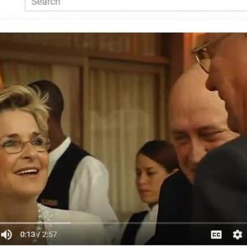F.W. de Klerk and Nelson Mandela at Klerk's birthday party