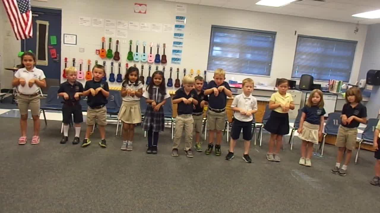 "17-18 Ms. Kelsey's Kindergarten class ""Kangaroo"" from Carnival of the animals"