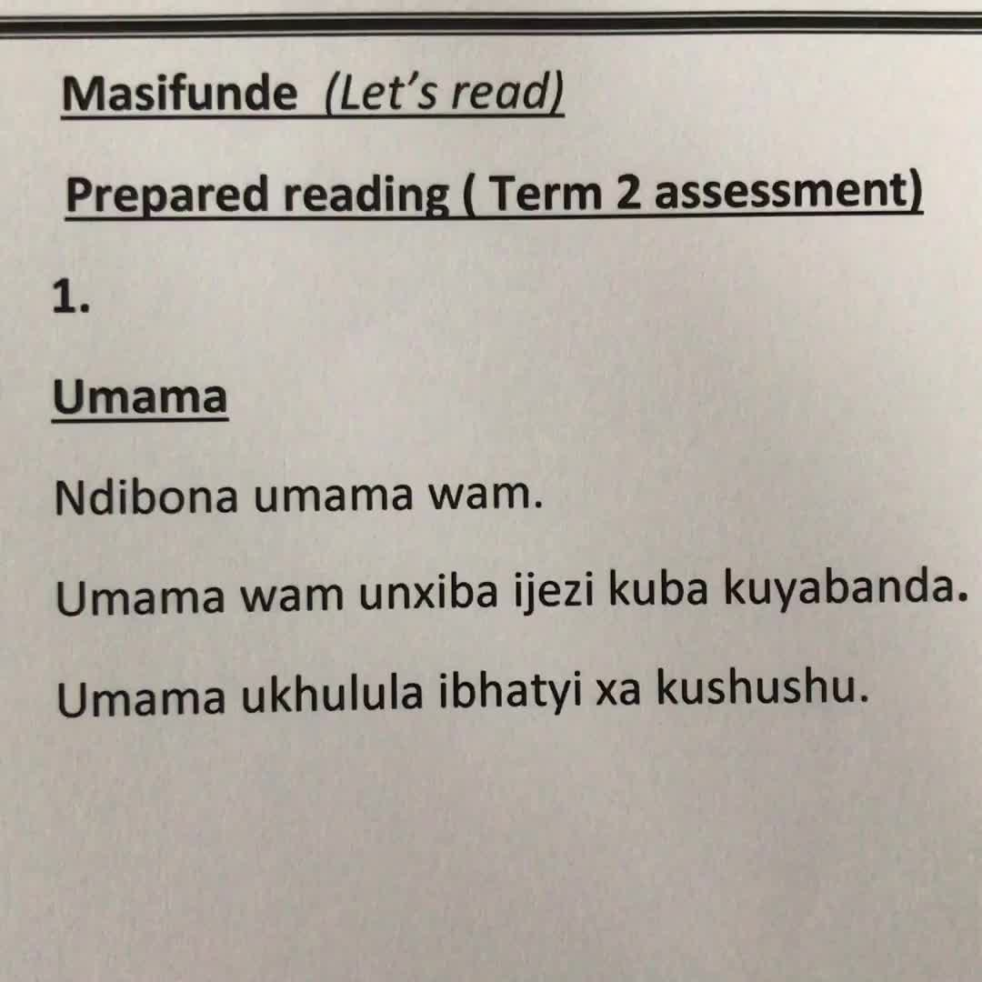 Xhosa prepared reading.